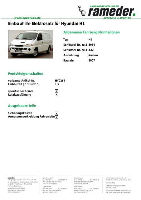 Einbauhilfe Elektrosatz für Hyundai H1