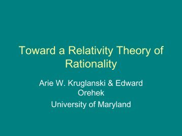 Toward a Relativity Theory of Rationality