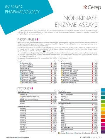 non-kInase enzyme assays - Cerep