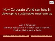 How corporate world can help in developing sustainable ... - NARI