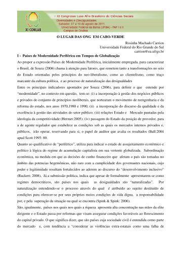 O LUGAR DAS ONG EM CABO-VERDE Rosinha Machado Carrion ...
