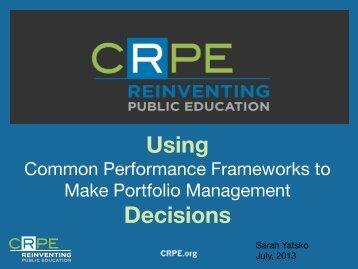 Using Performance Frameworks