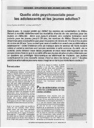 Quelle aide psychosociale pour les adolescents et les jeunes adultes?