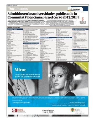 Consulta la lista de admitidos en las universidades ... - Levante-EMV
