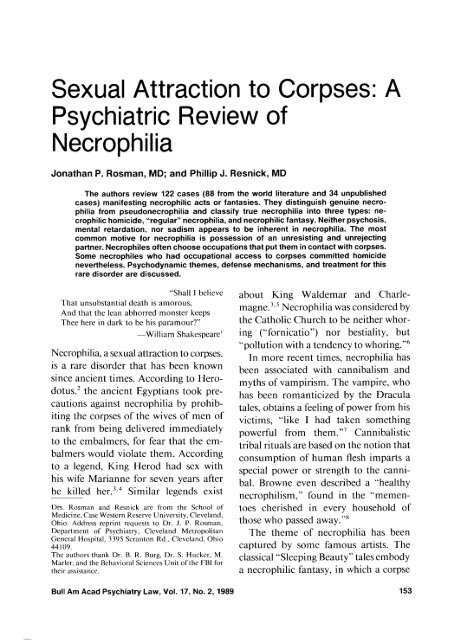 Sexual Attraction to Corpses: A Psychiatric Review of
