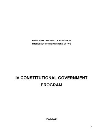 iv constitutional government program - Secretaria de Estado da Arte ...