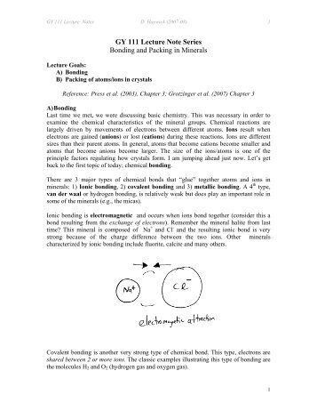 GY 111 Lecture Note Series Bonding and Packing in Minerals