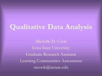 Qualitative Data Analysis - Learning Communities - Iowa State ...