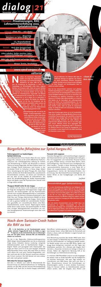 Ausgabe November 2001 im pdf-Format - VPOD-Aargau/Solothurn