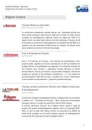 Revue de presse - Mai 2013 - L'Europe s'engage en région Centre