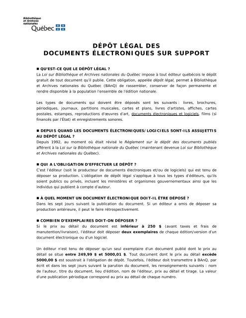 feuillet d'information - Bibliothèque et Archives nationales du Québec
