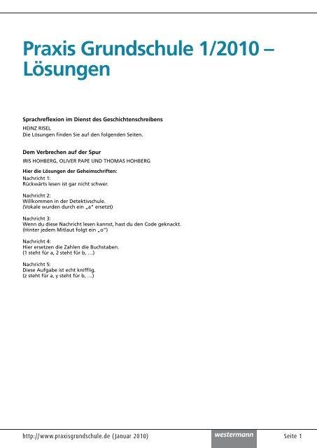 Praxis Grundschule 1/2010 – Lösungen