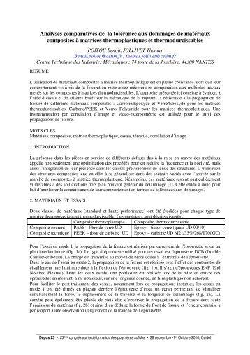 Analyses comparatives de la tolérance aux dommages de ... - Cetim