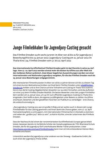 Junge Filmliebhaber für Jugendjury-Casting ... - Filmfest Dresden