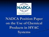 NADCA Position Paper on the Use of Chemical Products in HVAC ...