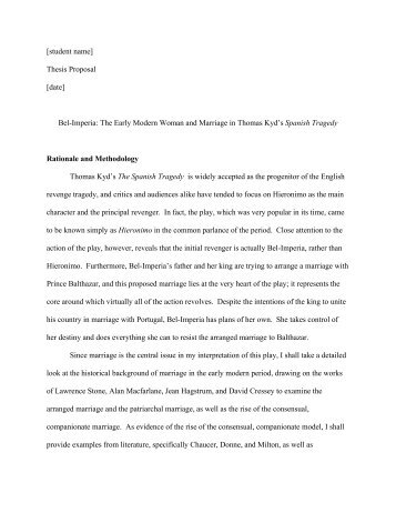 Sample Thesis Proposal  English Department