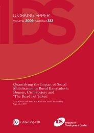 Quantifying the Impact of Social Mobilisation in Rural Bangladesh