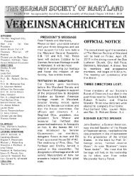 Newsletter February 2011 - German Society of Maryland
