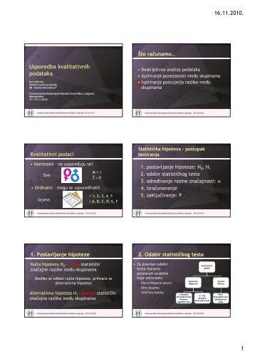 16.11.2010. 1 Usporedba kvalitativnih podataka - medri