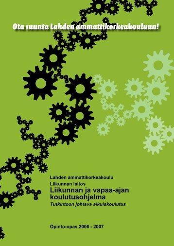 Opinto-opas 2006-2007, Liikunta, Liikunnan ja vapaa-ajan ...