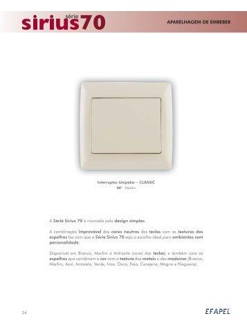 Download PDF Série Sirius 70 - Efapel