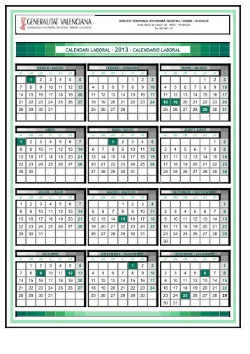calendari laboral - 2013 - calendario laboral - STM Intersindical ...