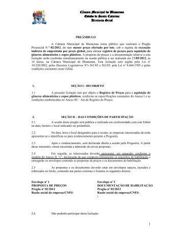 Pregão Presencial 002 2012 Registro de Preços para a aquisição ...