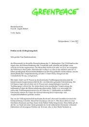 Bundeskanzlerin Frau Dr. Angela Merkel 11012 Berlin - Greenpeace