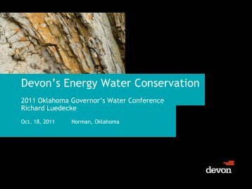 Devon's Energy Water Conservation - Water Resources Board ...