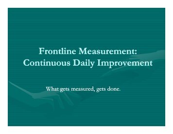 WANTED: Partners to Create a Measurement System for Continuous ...
