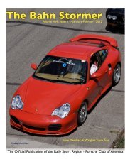 The Bahn Stormer - Rally Sport Region - Porsche Club of America