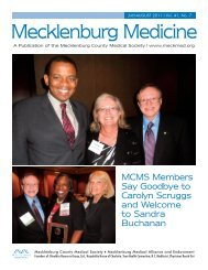 july-august 2011 I Vol. 41, No. 7 - Mecklenburg County Medical ...