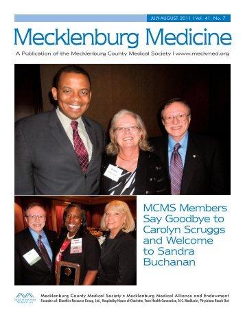 july-august 2011 I Vol. 41, No. 7 - Mecklenburg County Medical ...