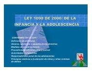 LEY 1098 DE 2006: DE LA INFANCIA Y LA ADOLESCENCIA