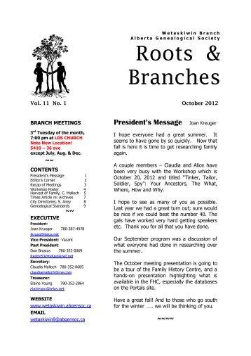 October 2012 - Wetaskiwin Branch, Alberta Genealogical Society