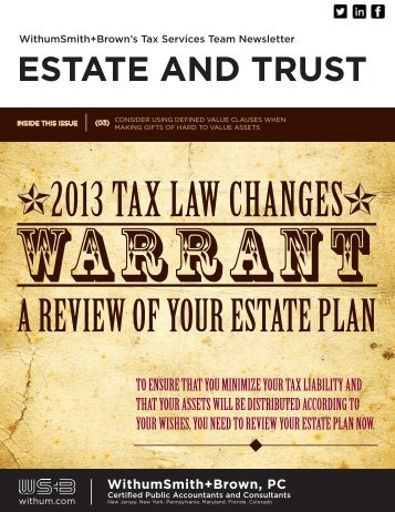 2013 Tax Law Changes Warrant a Review of Your Estate ... - Withum