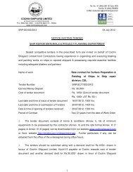 1 NOTICE INVITING TENDER SHIP REPAIR ... - Cochin Shipyard