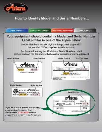 Model and Serial Number - Ariens