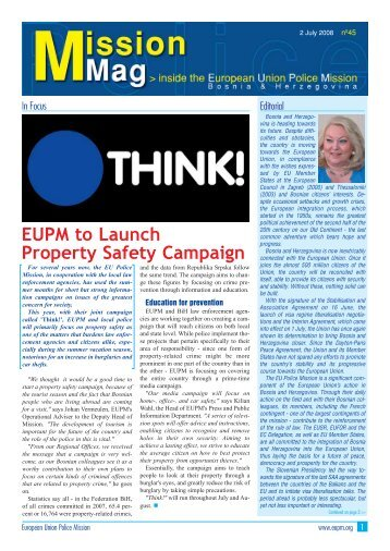 EUPM to Launch Property Safety Campaign - European Union ...