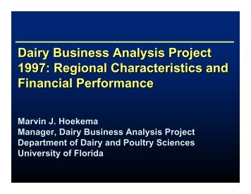Financial opportunities and constrains on Georgia and Florida dairies