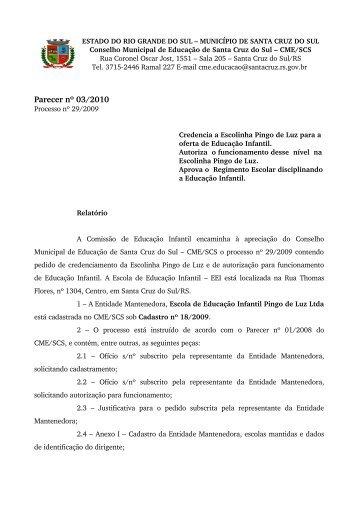 Parecer nº 03/2010 - Prefeitura de Santa Cruz do Sul