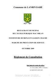 Règlement de Consultation - Commune de Lanrivoaré