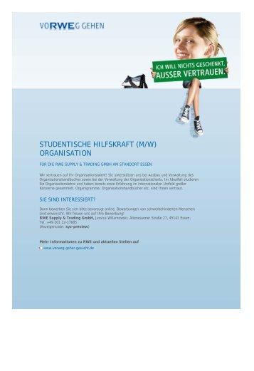 STUDENTISCHE HILFSKRAFT (M/W) ORGANISATION