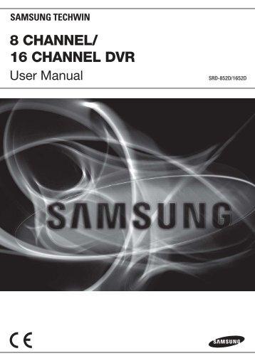 UserManual Samsung SRD-1652D DVR