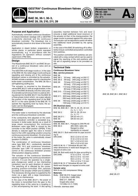 GESTRA® Continuous Blowdown Valves Reactomats ... - Fagerberg