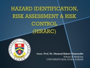 hazard identification, risk assessment & risk control - Sabah