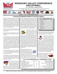 2011 MVC Volleyball Preseason Coaches' Poll - Missouri Valley ...