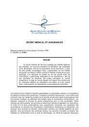 secret medical et assurances - Conseil National de l'Ordre des ...