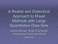 A Realist and Dialectical Approach to Mixed Methods with Large ...