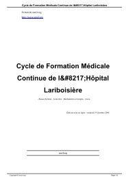 Cycle de Formation Médicale Continue de l' ... - SNORL